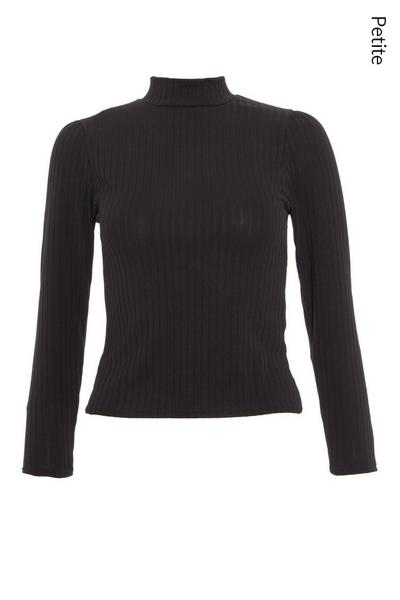 Petite Black Ribbed Roll Neck Top